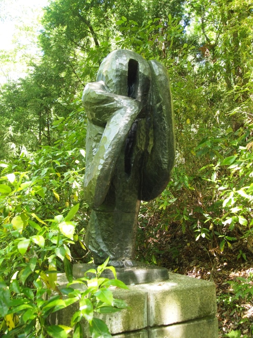 sculptures in the woods