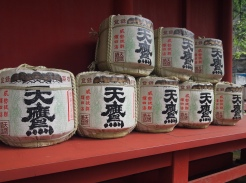 sake barrels at Futarasan Shrine