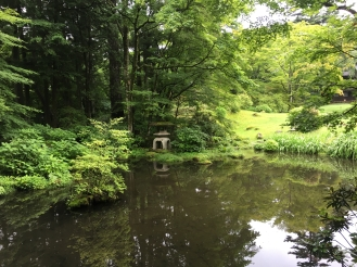 pond and stone lantern