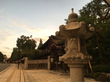 lantern and deserted streets of Koyasan